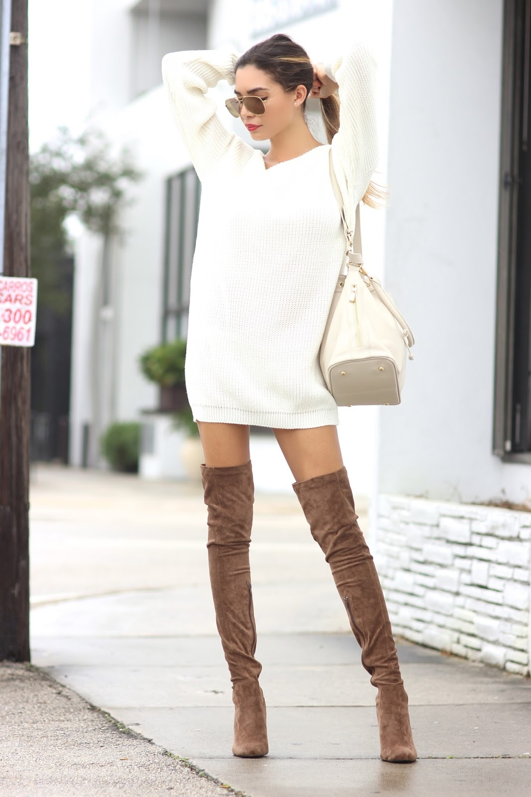 tosh lately sweater dress x thigh high boots weather