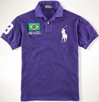 polo com bandeira do Brasil Ralph Lauren Mundial