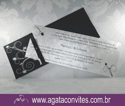 Convite de Casamento Preto e Branco com papel importado.