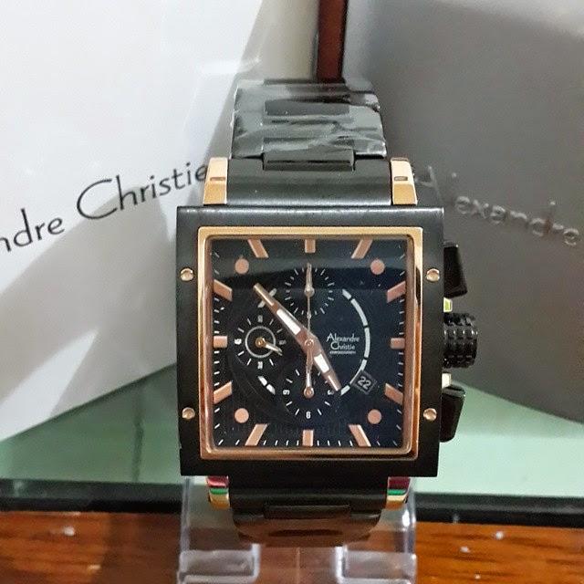 jam tangan alexandre christie 6182 black gold