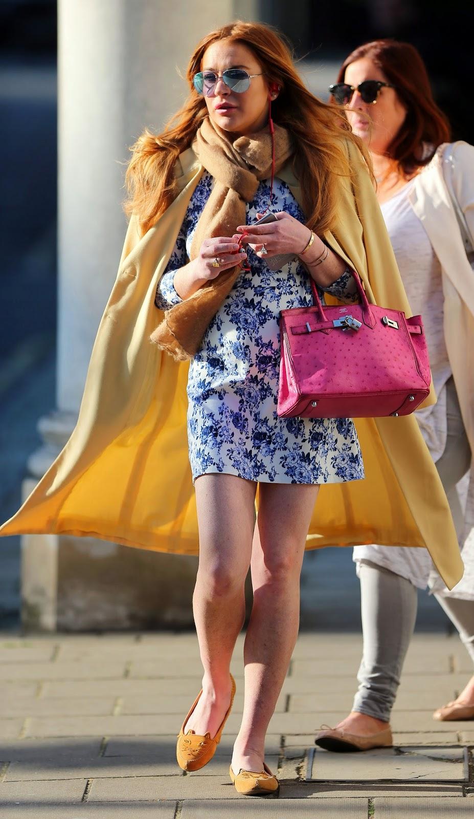 Lindsay Lohan walking around London