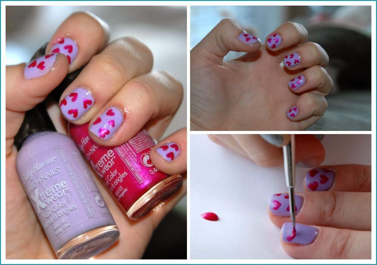 Valentines Day Nail Tutorial using Sally Hansen's Xtreme Wear Nail Color