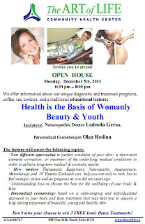 Health is the Basis of Womanly Beauty and Youth, Open House the Art of Life Community Health Centre, Toronto, December 5, 2011, theartlife.ca