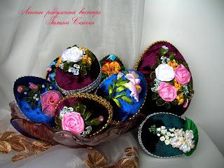 вышитые лентами яйца, пасхальный сувенир