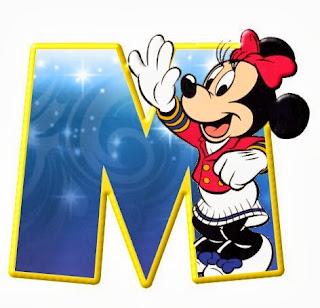 Alfabeto de personajes Disney con letras grandes M Minnie.