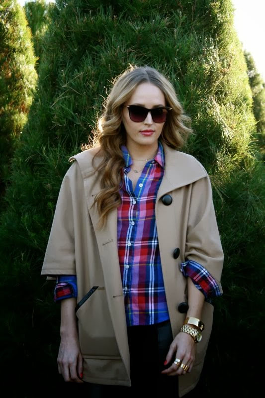Winter Outfits- Camel Cape- Plaid Shirt-Ankle Booties-Personal style blogger- LA blogger-Golden Divine Blog