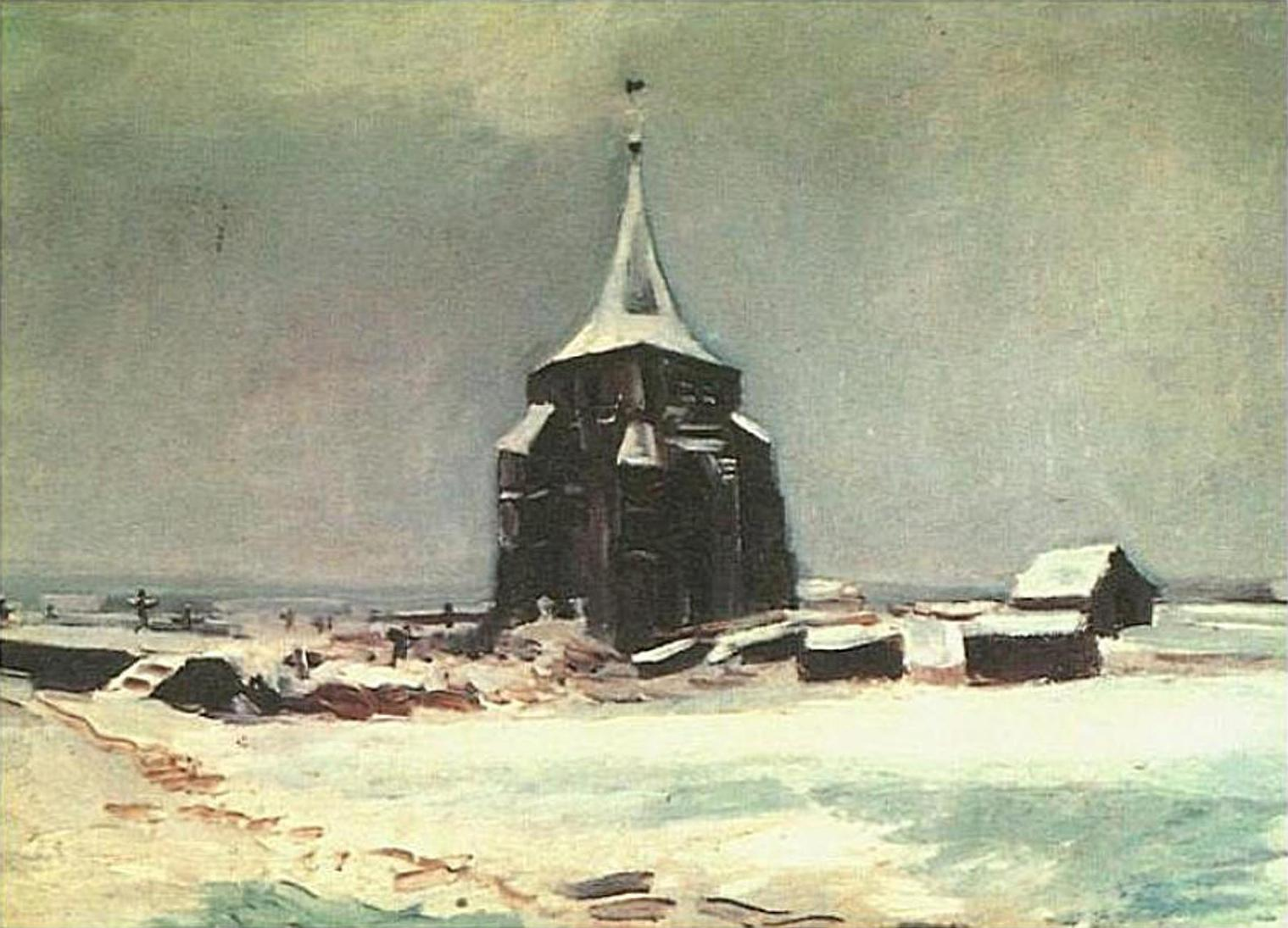 The Old Cemetery Tower at Nuenen in the Snow (F 87, JH 600) by Vincent van Gogh