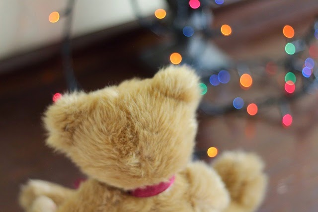 beautiful christmas bokeh and teddy bear