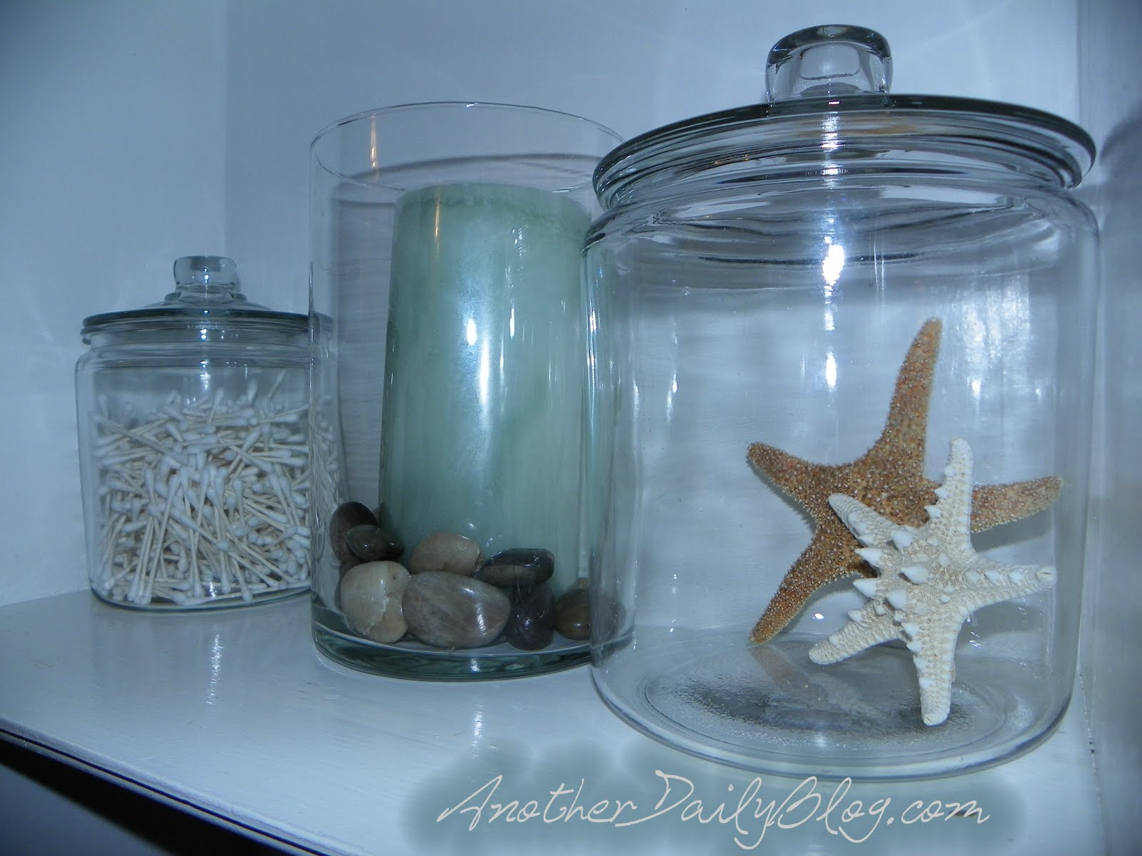 Another Daily Blog: Pottery Barn Inspired Glass Bathroom Canisters ...