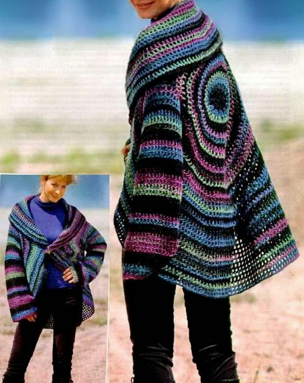 Free Crochet Patterns Ladies Cardigan : Crochet Sweaters: Crochet Cardigan Circle Pattern