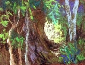 Soft Pastel Thumbnail sketch of a landscape from COORG by Manju Panchal