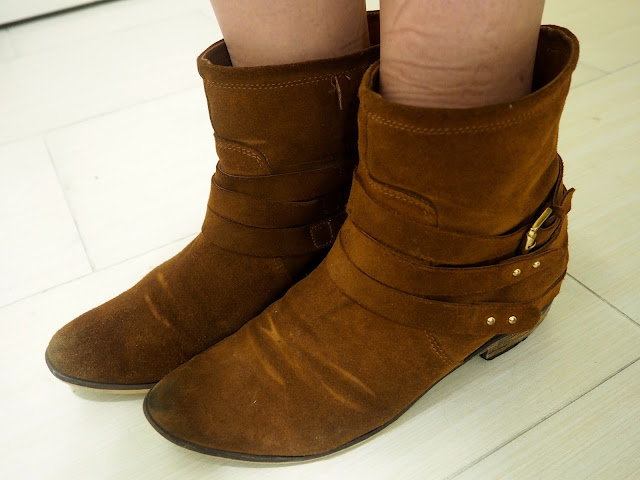 Casual Comfort | outfit details of brown suede ankle boots with strap and buckle details