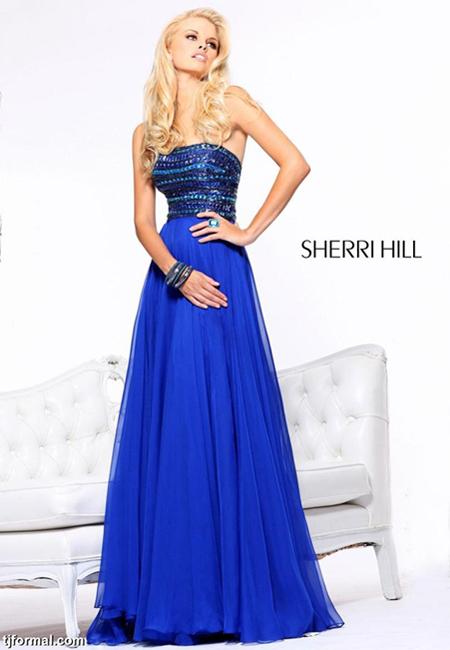 Кобалтово синя рокля с блестящо бюстие
