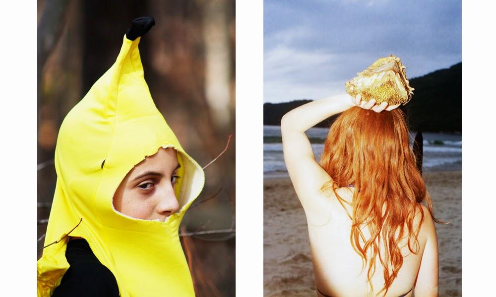 woman, beach, banana