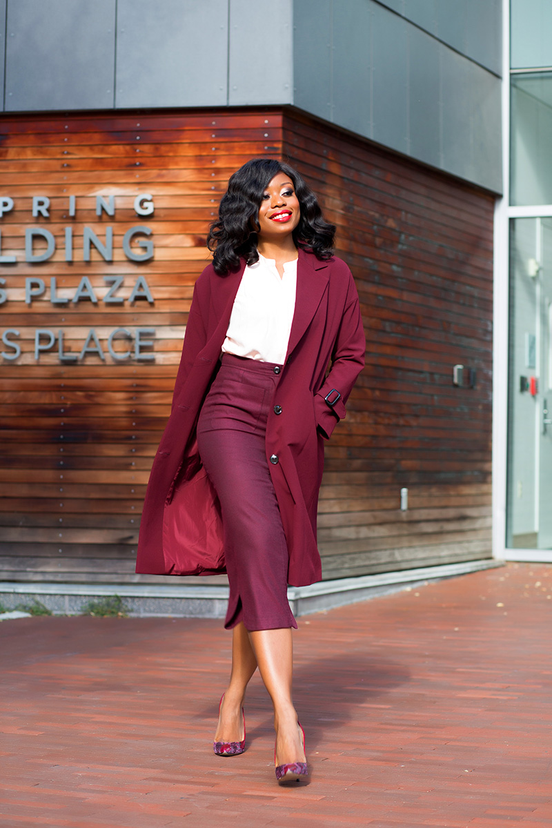 How to style fall burgundy color for work, www.jadore-fashion.com