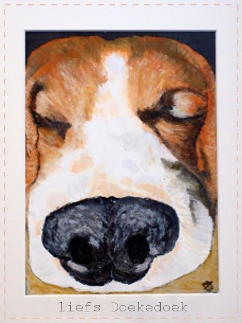 afbeelding van schilderij beagle Joep van lefs Doekedoek, www.doekedoek.nl