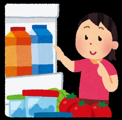 冷蔵庫の中を見る人のイラスト