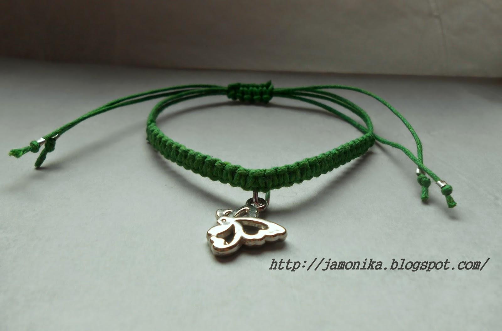 Zielona bransoletka shamballa z motylem