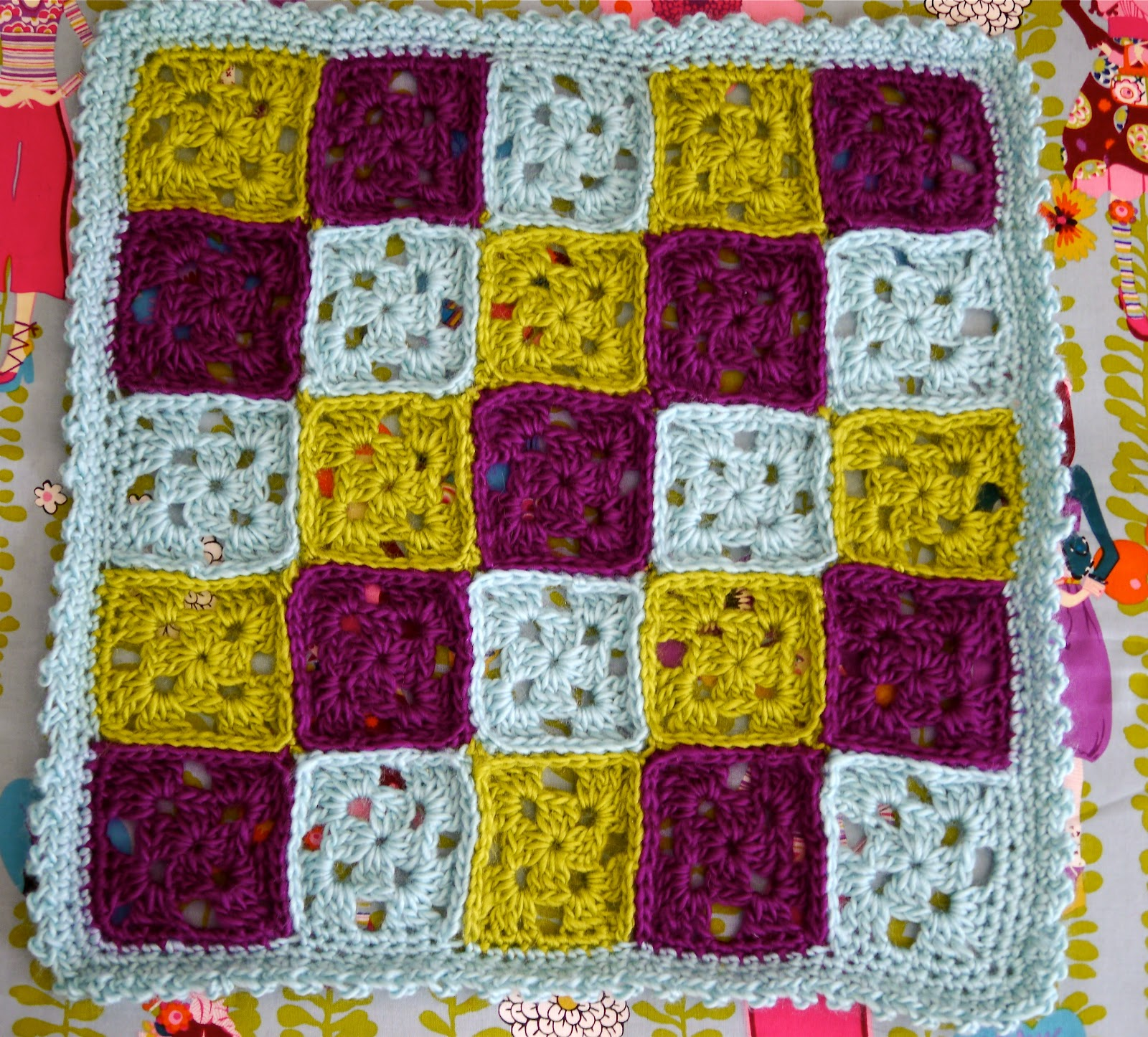 Home Hooking Granny Square Doll Blanket Vickie Howell