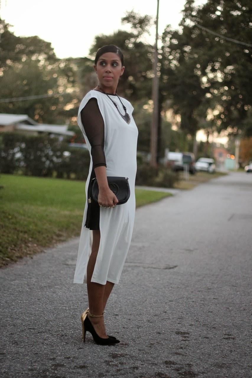 asos dress gucci bag black gold white heels pumps sigerson morrison