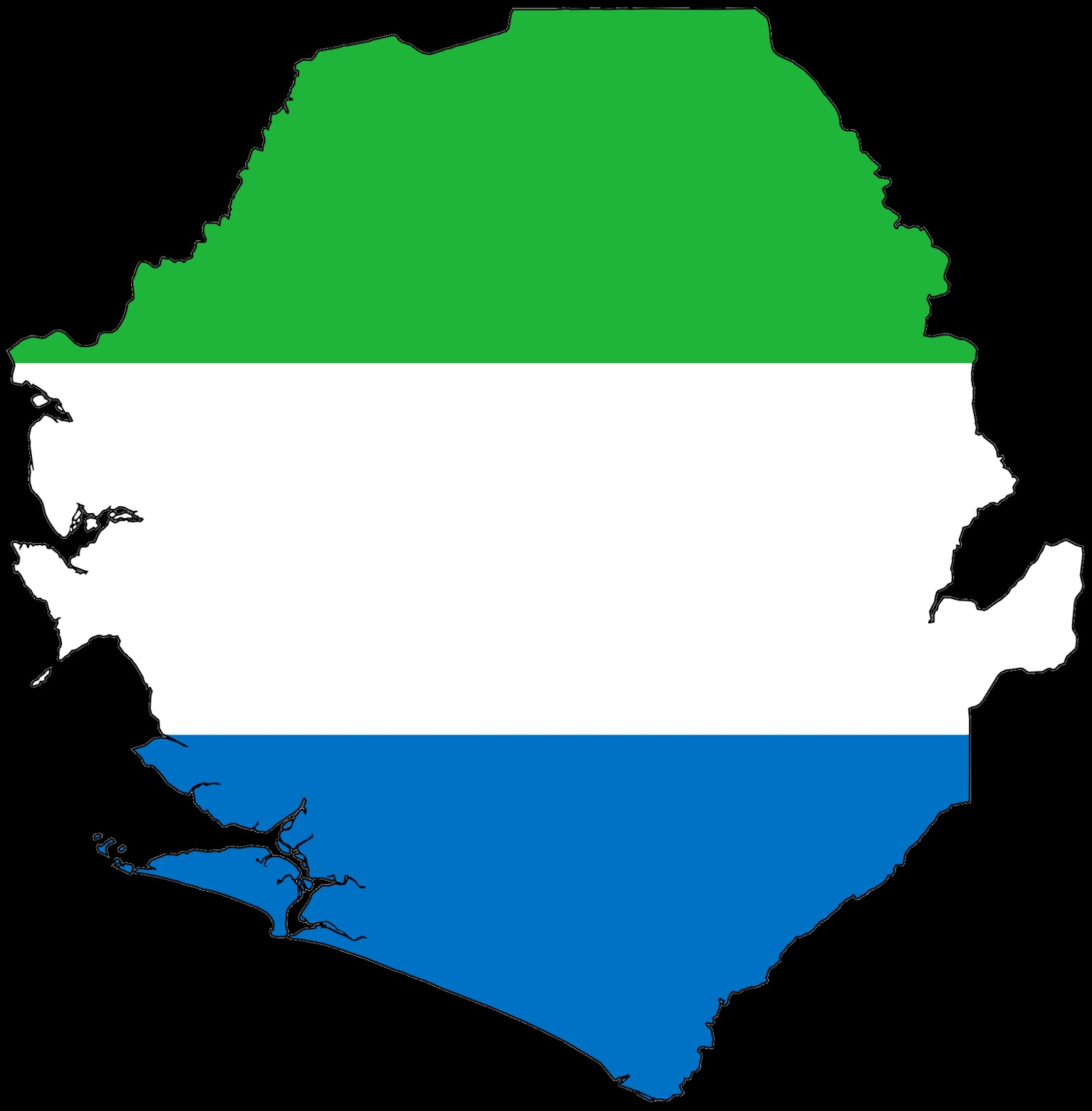 map of sierra leone colored with the nation s flag colors and alignment