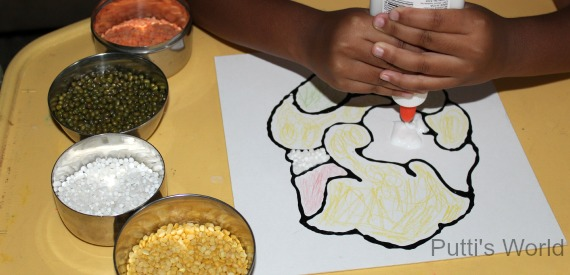 Kids Craft- Lentils Ganesha Vinayak