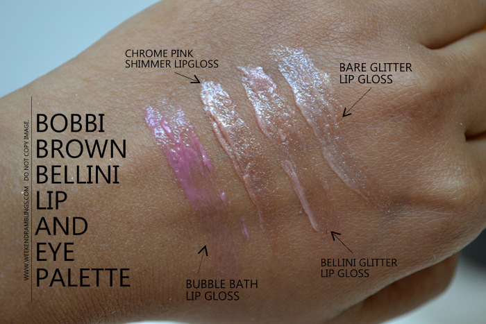 Bobbi Brown Bellini Lipgloss Eyeshadow Palette Holiday 2012 Makeup Gifts Collection Swatches Indian Darker Skin Beauty Blog Bubble Bath Chrome Pink Bellini Bare Glitter