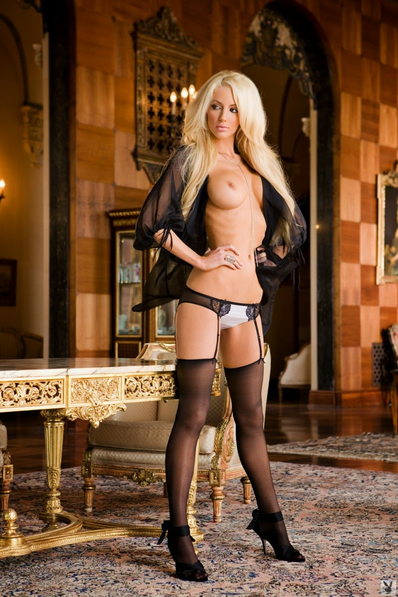 busty Nicolette Shea hot blonde temptation in stockings