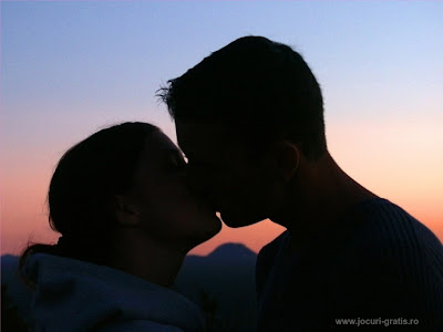 Cute romantic couple with kiss