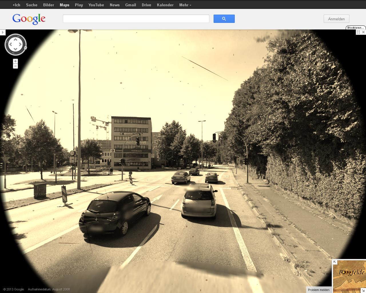 Screenshot Google-Streetview in der Schatzsuche auf alt getrimmt mit Flecken auf dem Bild.