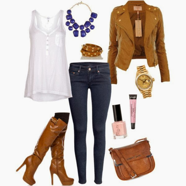 White blouse, brown jacket, jeans, long boots and hand bag for fall