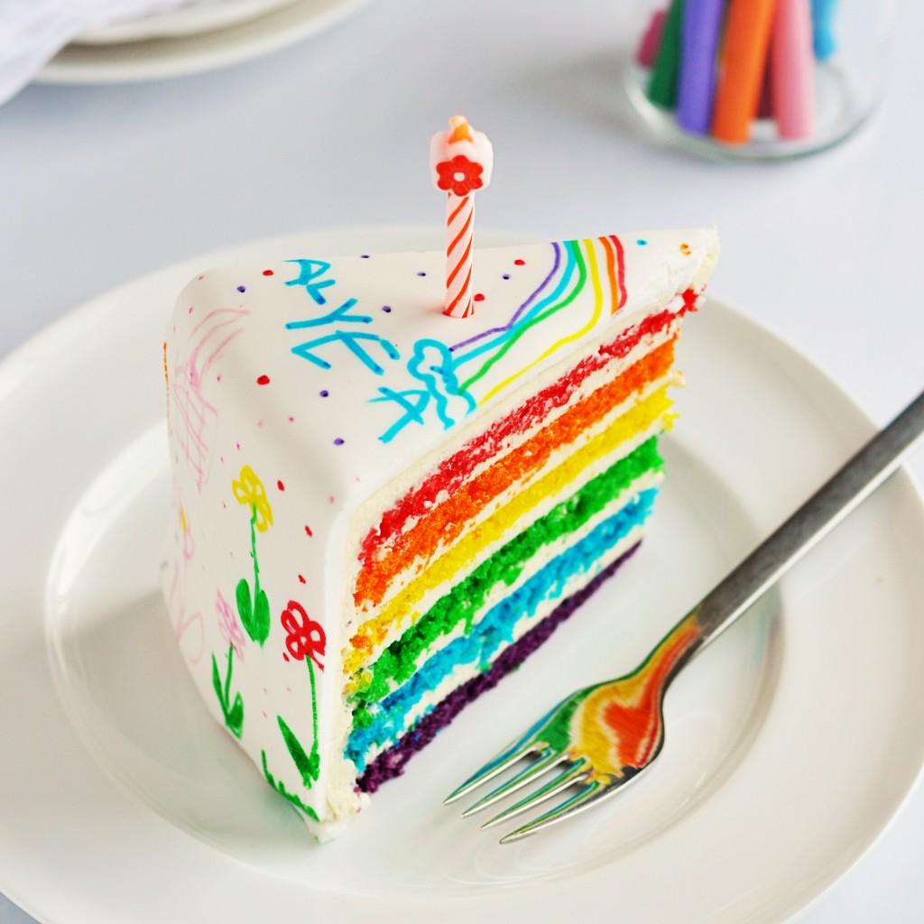 Rainbow Doodle Birthday Cake