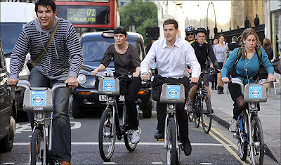 Boris Bikers waiting at traffic lights