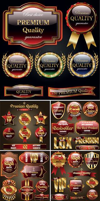Premium Quality Gold Vector Labels