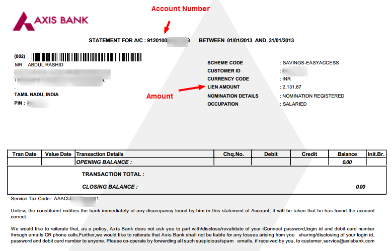 sample bank statement template .