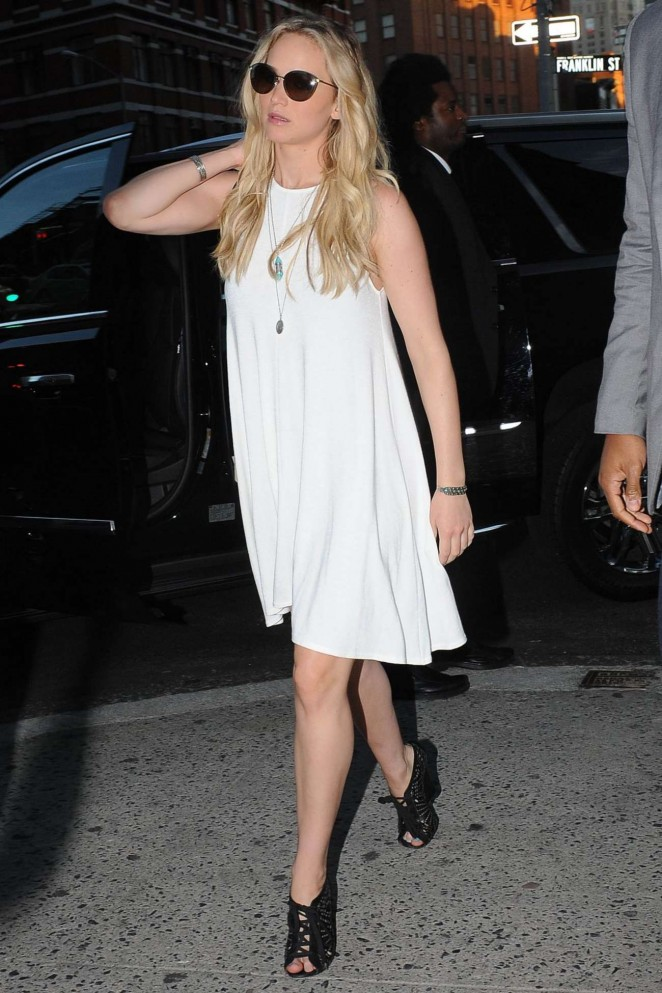 Jennifer Lawrence out and about in a chic summer dress in NY