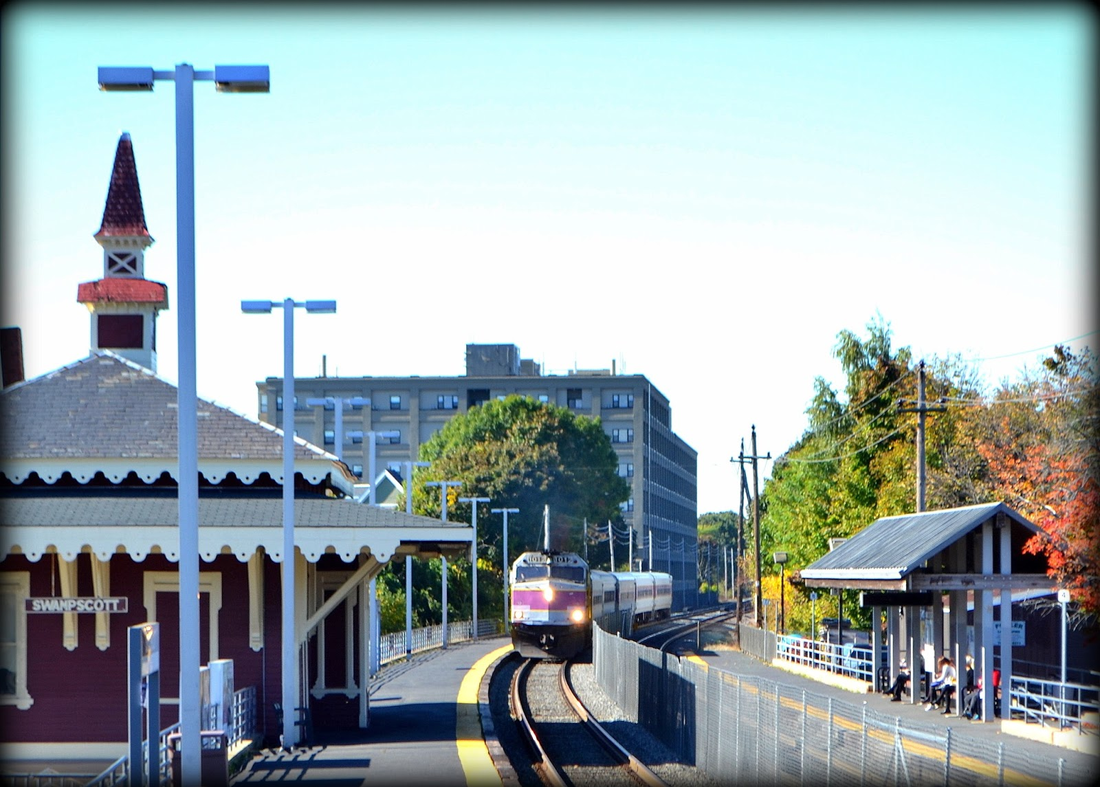 mbta, train, rail, station, shadow, swampscott