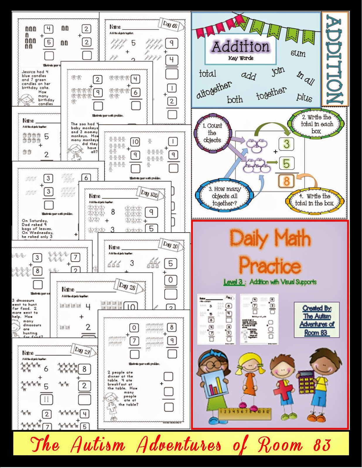 math worksheet : daily math practice level 3 addition with visuals  the autism  : Daily Math Practice Worksheets