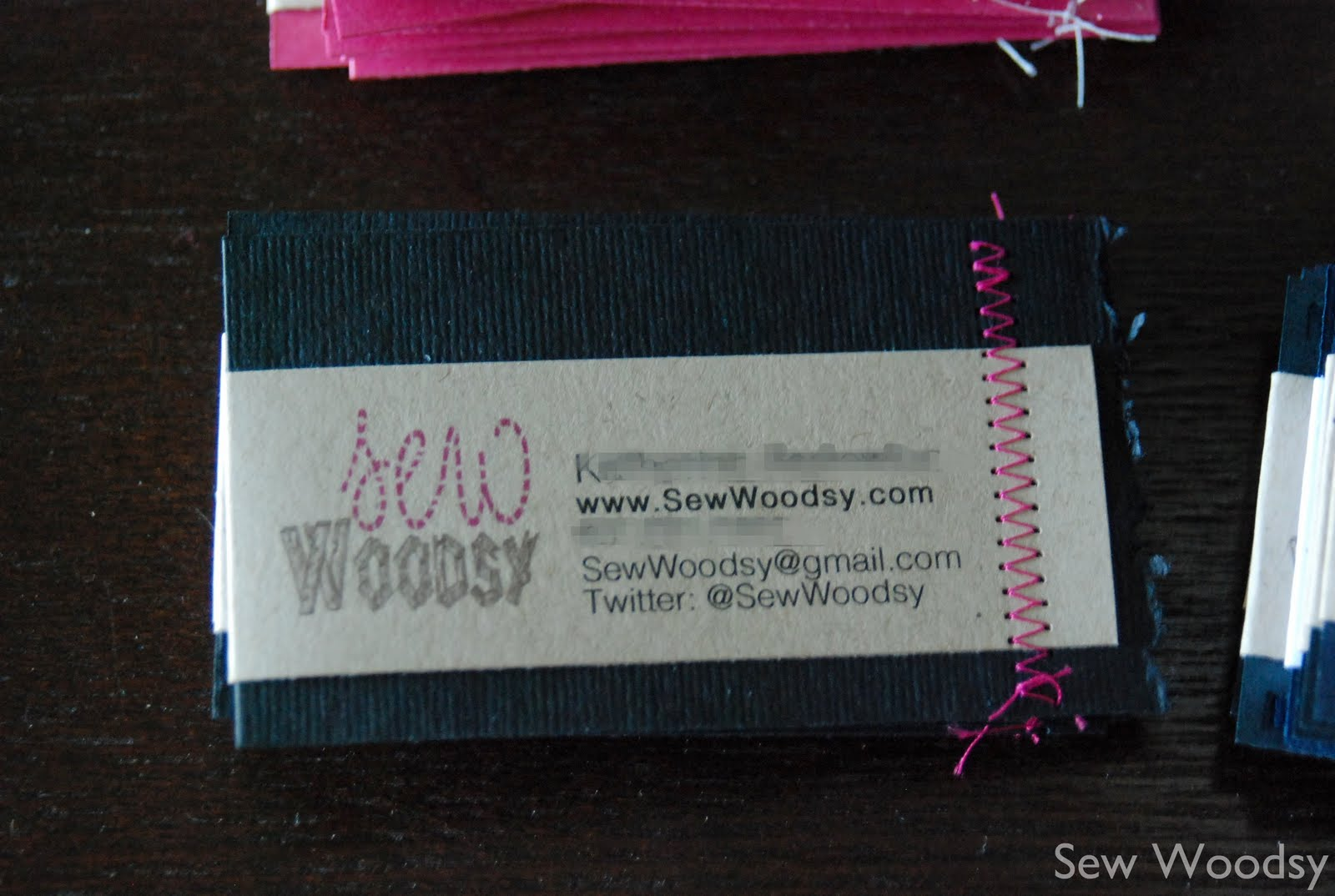 Title sewn homemade business cards cfl blog con recaptitle as pictured above this is how your cards will look prior to being trimmed i ran the cards through the paper cutter and then trimmed the loose thread from colourmoves
