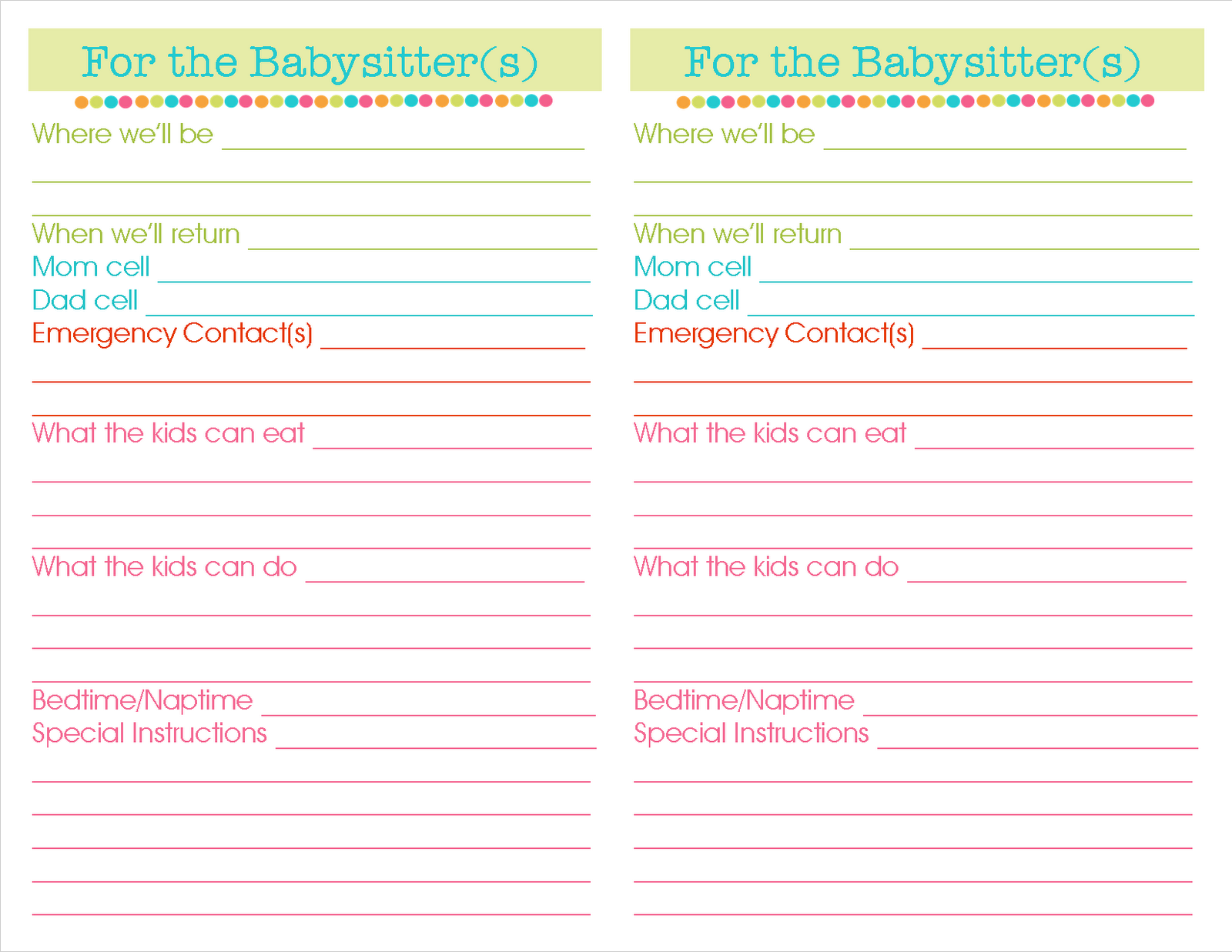 babysitter printables related keywords suggestions babysitter print babysitting templates printable information