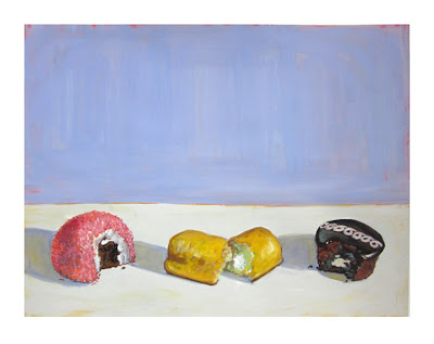 still life painting of junk food, hostess cupcake, snoball and twinkie