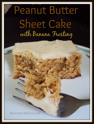 Peanut Butter Sheet Cake with Banana Frosting