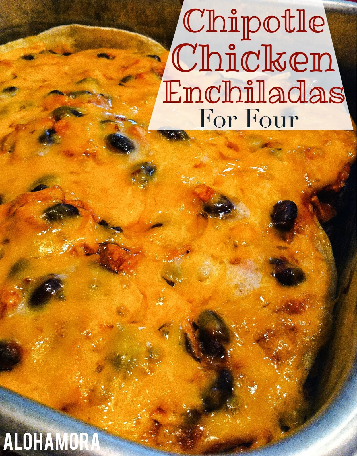 Delicious sweet and spicy chipotle chicken enchilada casserole for a small family.  Plus it is naturally gluten free.  This easy to make casserole is fast to make for a busy night.  Alohamora Open a Book http://www.alohamoraopenabook.blogspot.com/