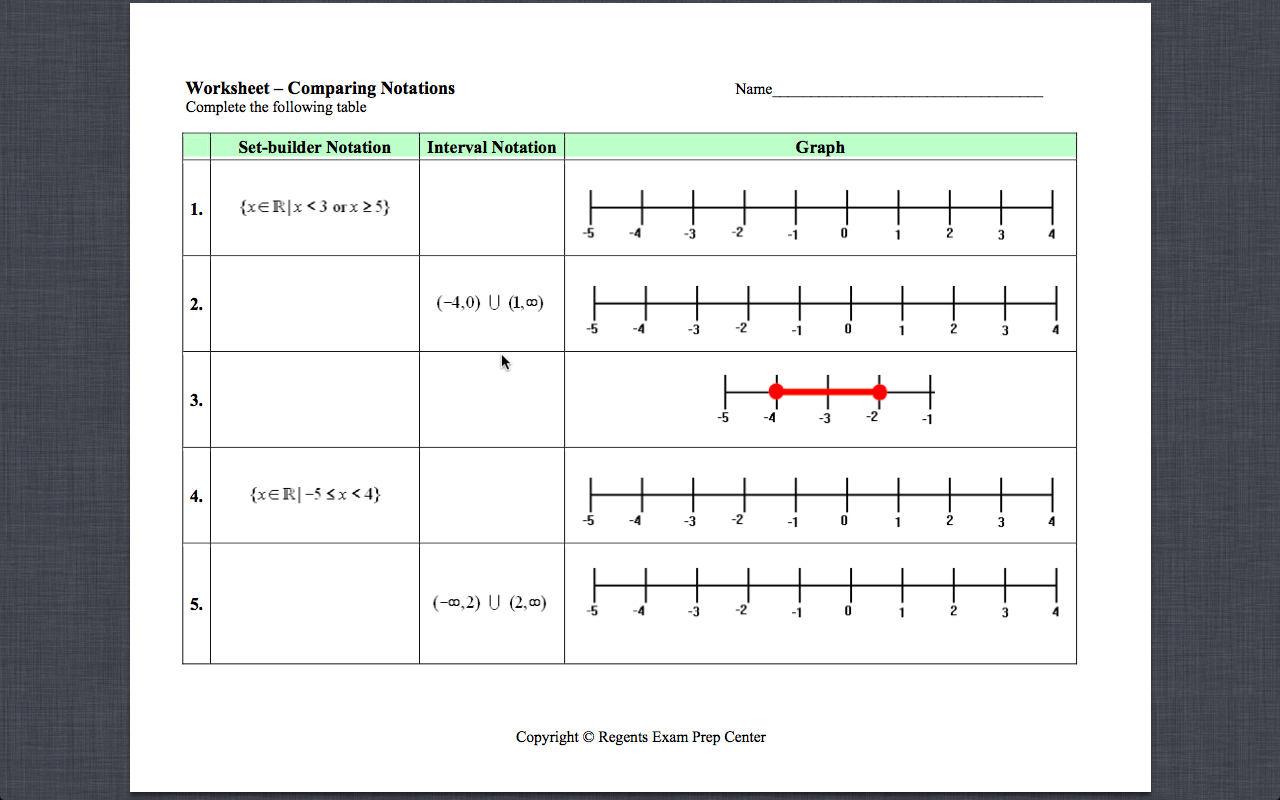 Set Builder Notation Worksheet – Interval Notation Worksheet