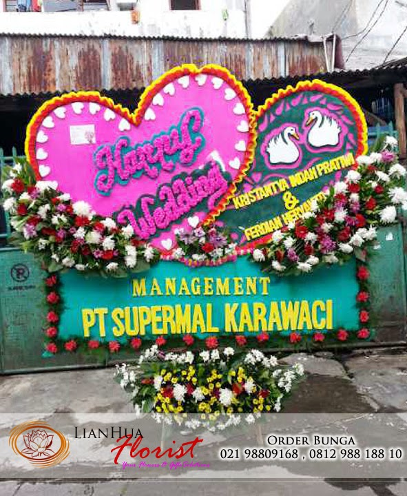 karangan bunga papan pernikahan, toko bunga, bunga ucapan selamat berbahagia, florist jakarta