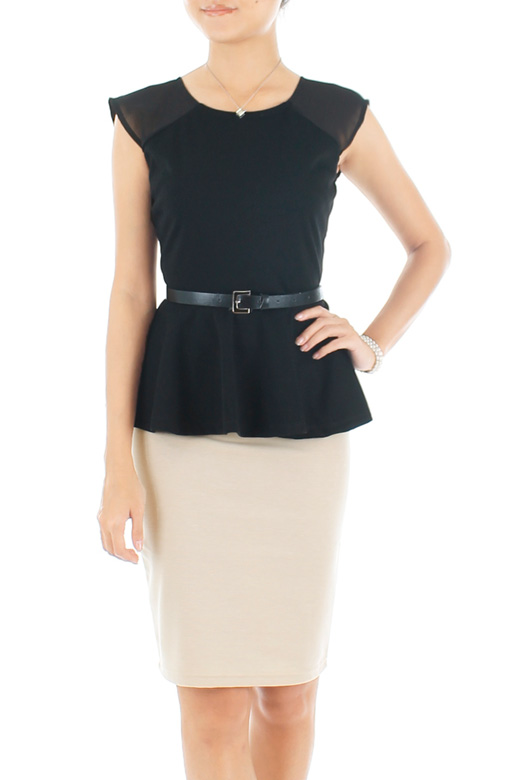 Black Heir Peplum Blouse