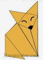 Bước 8: Vẽ mắt, mũi để hoàn thành cách xếp con cáo bằng giấy theo phóng cách origami.