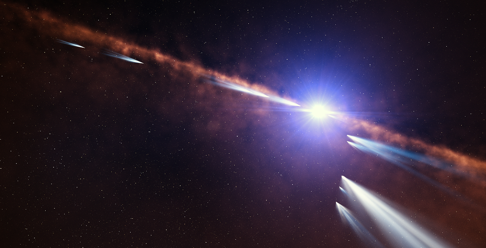 This artist's impression shows exocomets orbiting the star Beta Pictoris. Astronomers analysing observations of nearly 500 individual comets made with the HARPS instrument at ESO's La Silla Observatory have discovered two families of exocomets around this nearby young star. The first consists of old exocomets that have made multiple passages near the star. The second family, shown in this illustration, consists of younger exocomets on the same orbit, which probably came from the recent breakup of one or more larger objects. Credit: ESO/L. Calçada
