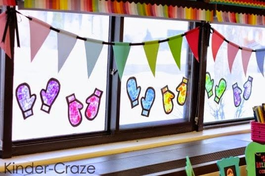 http://kindercraze.com/2014/01/stained-glass-mitten-window-decor/