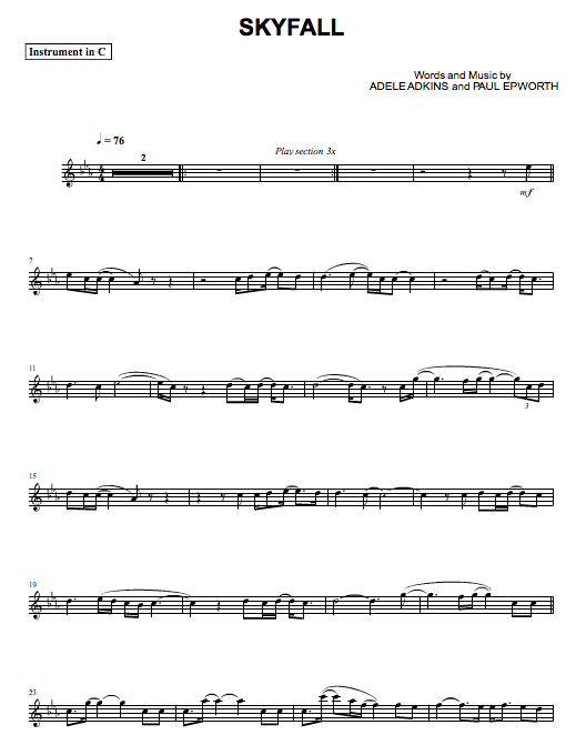 Free Flute Notes: Skyfall
